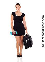 businesswoman, het reizen, koffer