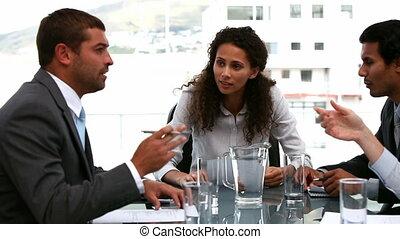 businesswoman, het spreken, met, team