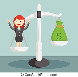 businesswoman high price illustration design