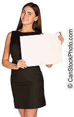 Businesswoman hold empty white paper in front of him
