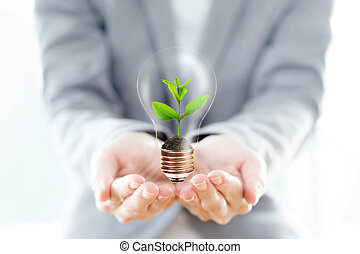 Businesswoman hold Light Bulb with soil and green plant sprout inside