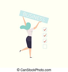 Businesswoman holding a banner with the inscription Business vector Illustration on a white background