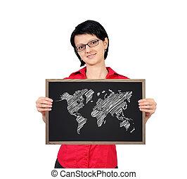 blackboard with world map