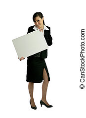 Businesswoman holding a blank sign
