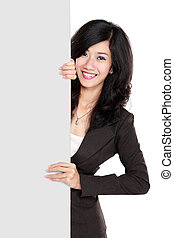 Businesswoman holding a blank presentation board