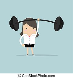 Businesswoman holding a heavy barbell with one hand.