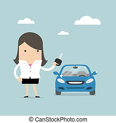 Businesswoman holding a key of a new car.