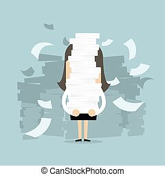 Businesswoman holding a lot of documents in her hands.