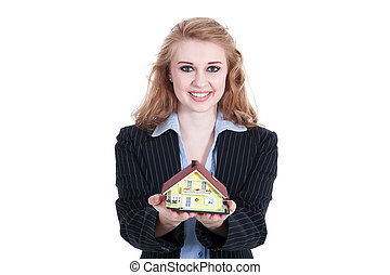 Businesswoman holding a model
