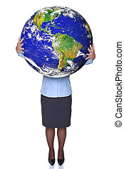 Businesswoman holding a world globe
