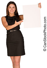 Businesswoman holding and pointing at blank sheet of paper