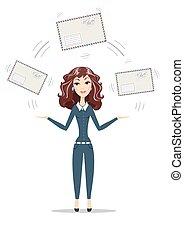 Businesswoman holding big envelope.