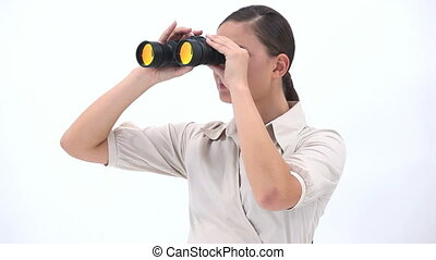 Businesswoman holding binoculars - Video of a businesswoman...