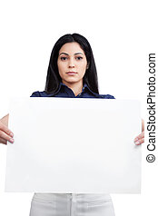 Businesswoman Holding Blank Placard