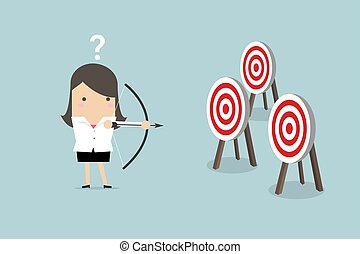 Businesswoman holding bow and arrow confused by multiple bulls eye target.