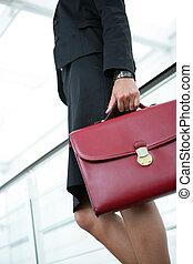 Businesswoman holding briefcase