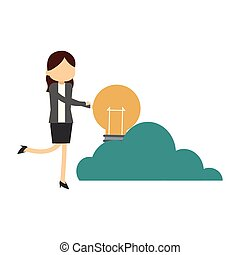 Businesswoman holding bulb on cloud