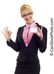 businesswoman holding card