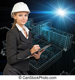 Businesswoman holding clipboard. Wire-frame buildings as backdrop