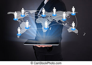 Businesswoman Holding Digital Tablet With Connected World...