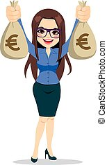 Businesswoman Holding Euro Money Bags