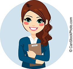 Beautiful young brunette businesswoman holding folder with documents
