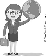 businesswoman holding globe black and white color style