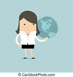 Businesswoman holding globe in her hand.
