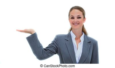Businesswoman holding her palm out