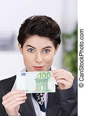 Businesswoman Holding Hundred Euros