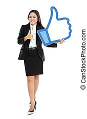 Businesswoman holding like sign