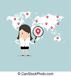 Businesswoman holding magnifying glass finding map pin over world map.