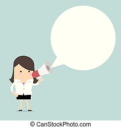 Businesswoman holding megaphone with speech bubble for text.