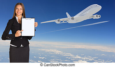 Businesswoman holding paper holder. Airplane in the sky