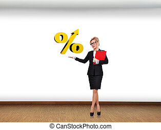 holding percentage symbol - businesswoman holding percentage...