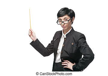 businesswoman holding pointer