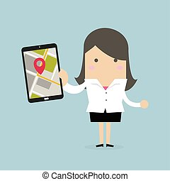 Businesswoman holding tablet with navigation map and pin pointer on the screen.