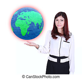 businesswoman holding the Earth in her hand