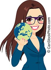 Businesswoman Holding World