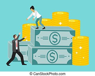 Businesswoman holds out her hand to a colleague helping to climb on pack of money vector illustration. Business collaboration.