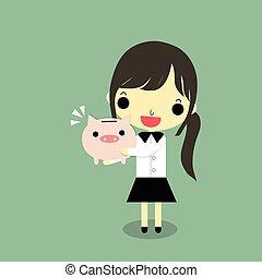 businesswoman hug piggy bank