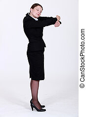 Businesswoman hugging