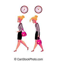 Businesswoman hurrying to work and going back home tired, exhausted