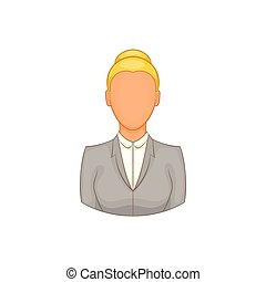 Businesswoman icon in cartoon style