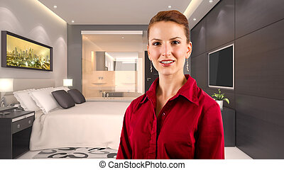 Businesswoman in a Hotel