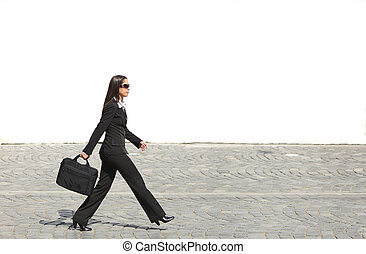 Businesswoman in a hurry