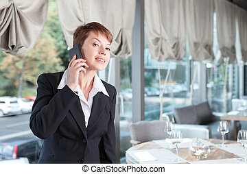 Businesswoman in a restaurant