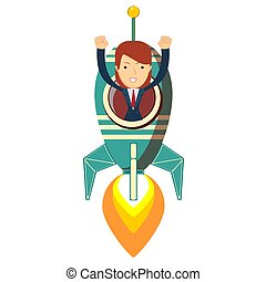 Businesswoman in a rocket on a white background. Business Start up concept.