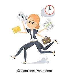 Businesswoman in a rush.