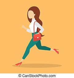 Businesswoman in a suit running. Female in a hurry -...